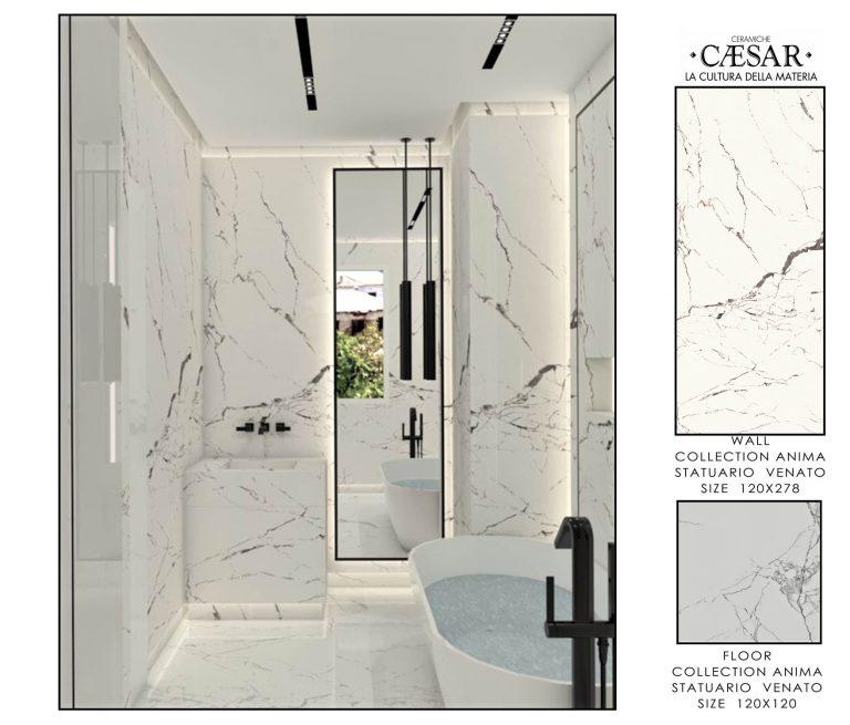 Ceramiche Caesar Ba-MASTER BATHROOM WHITE &GREY ACCESSORIES