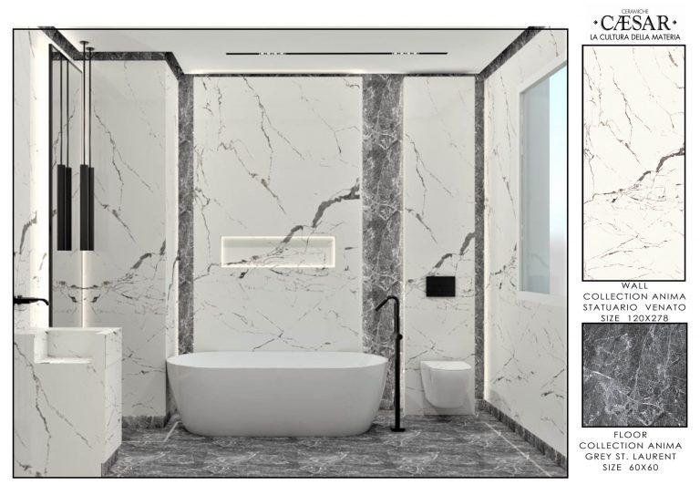 Ceramiche Caesar Bathroom-MASTER BATHROOM WHITE & GREY 1