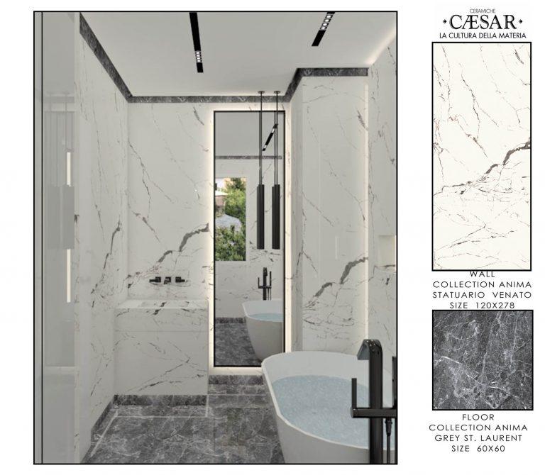 Ceramiche Caesar Bathroom-MASTER BATHROOM WHITE & GREY 2